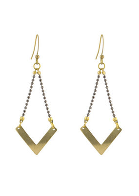 Santoré Brass Chevron Ball & Chain Earring