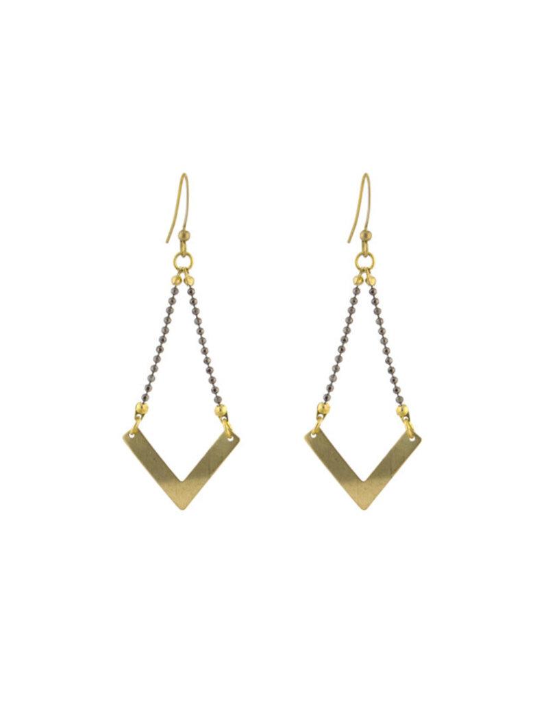 Santoré Brass Chevron Ball & Chain Earring