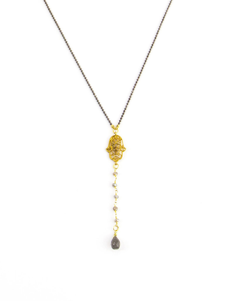 Santoré Brass Hamsa Y-Shape w Labradorite Necklace