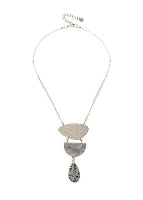 Nakamol Thea Necklace w Larbradorite + Dalmation Jasper
