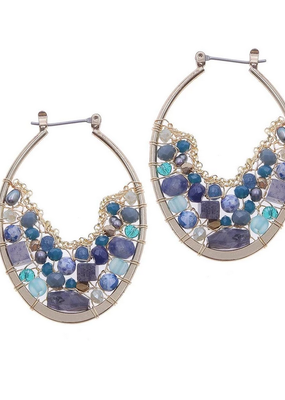 Nakamol Gold Blue Bead Hoop Earrings