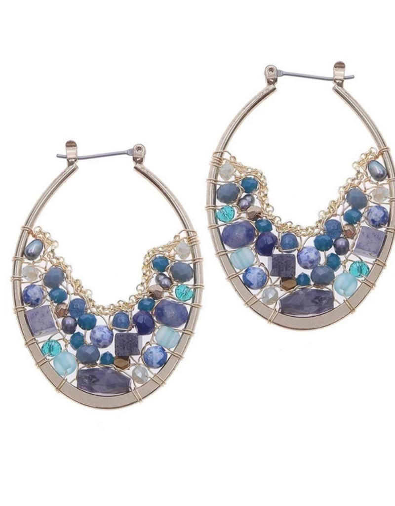 Nakamol Gold Blue Bead Hoop Earrings