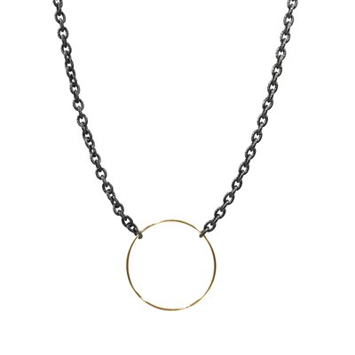 iishii Mixed Metal Necklace w/ Gold O Ring