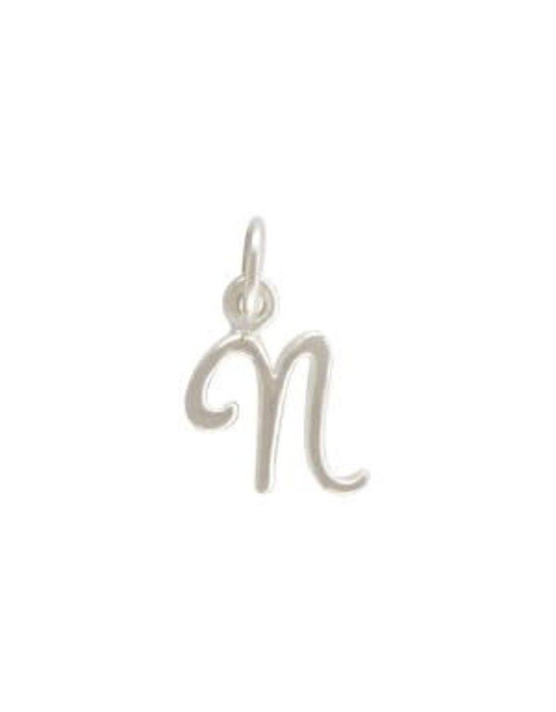 Sterling Silver Initial N Script Charm
