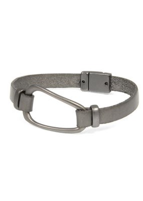 Joy Susan Grey Leather Gunmetal Hoop Bracelet
