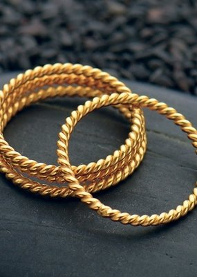 24k Gold Plated Twisted Wire Ring