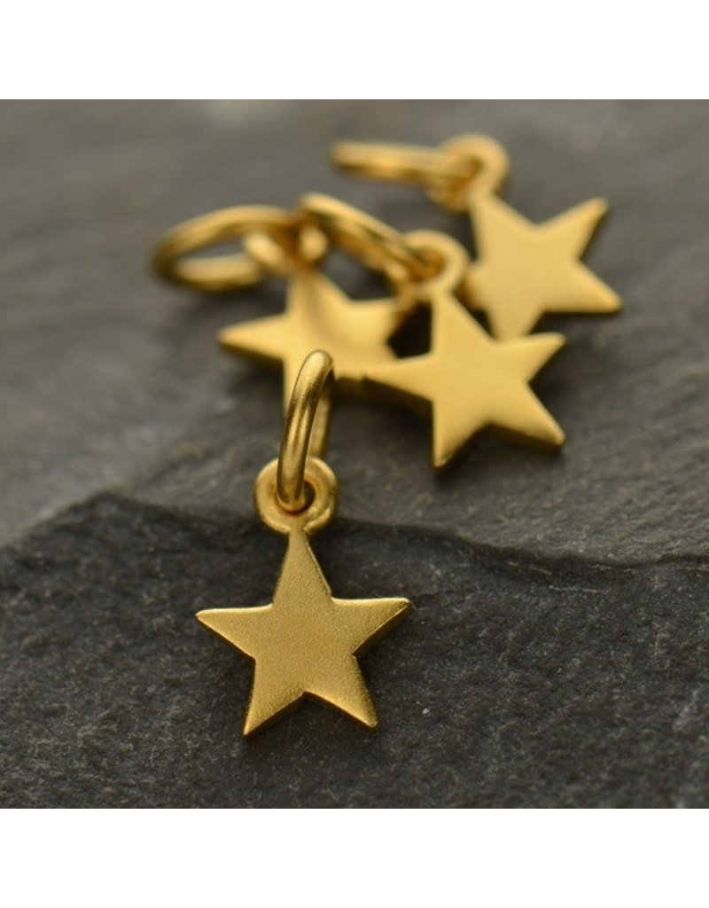 24k Gold Plated Tiny Flat Star Charm