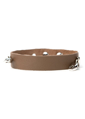 Lenny & Eva Taupe Leather Cuff Bracelet w Silver Finish
