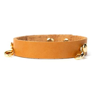 Lenny & Eva Camel Leather Cuff Bracelet w Gold Finish