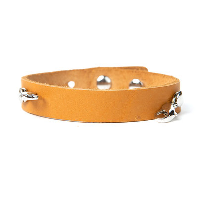 Lenny & Eva Camel Leather Cuff Bracelet w Silver Finish