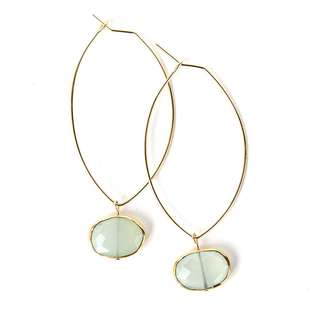 Lenny & Eva Aqua Chalcedony Ava Gemstone Earrings