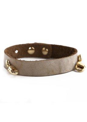 Lenny & Eva Bone Leather Cuff Bracelet w Gold Finish