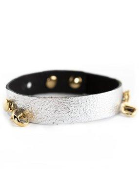 Lenny & Eva Gunmetal Leather Cuff Bracelet w Gold Finish