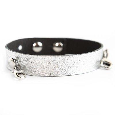 Lenny & Eva Gunmetal Leather Cuff Bracelet w Silver Finish