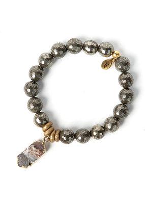 Lenny & Eva 10mm Gemstone Bracelet Pyrite