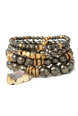Lenny & Eva 10mm Gemstone Bracelet Pyrite