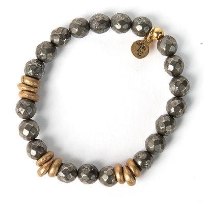 Lenny & Eva 8mm Gemstone Bracelet Pyrite