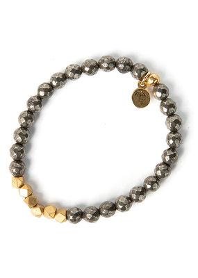 Lenny & Eva 6mm Gemstone Bracelet Pyrite