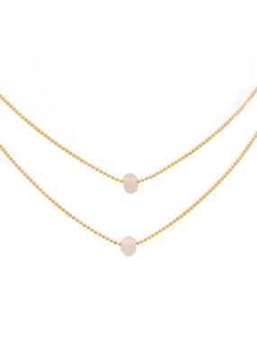 Lenny & Eva Layered Rose Quartz Gold Necklace