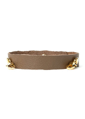 Lenny & Eva Taupe Leather Cuff Bracelet w Gold Finish