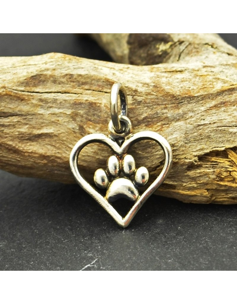 Sterling Silver Openwork Paw Print Heart Charm