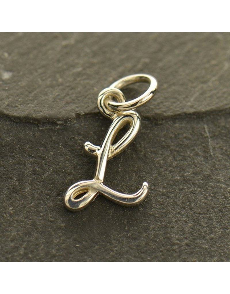 Sterling Silver Initial L Script Charm
