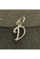 Sterling Silver Initial D Script Charm