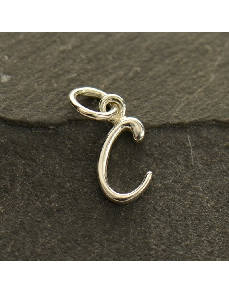 Sterling Silver Initial C Script Charm