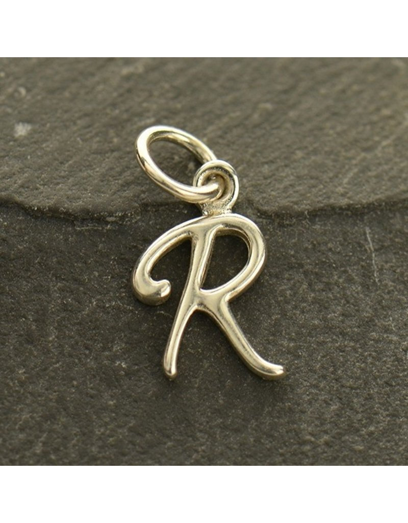 Sterling Silver Initial R Script Charm