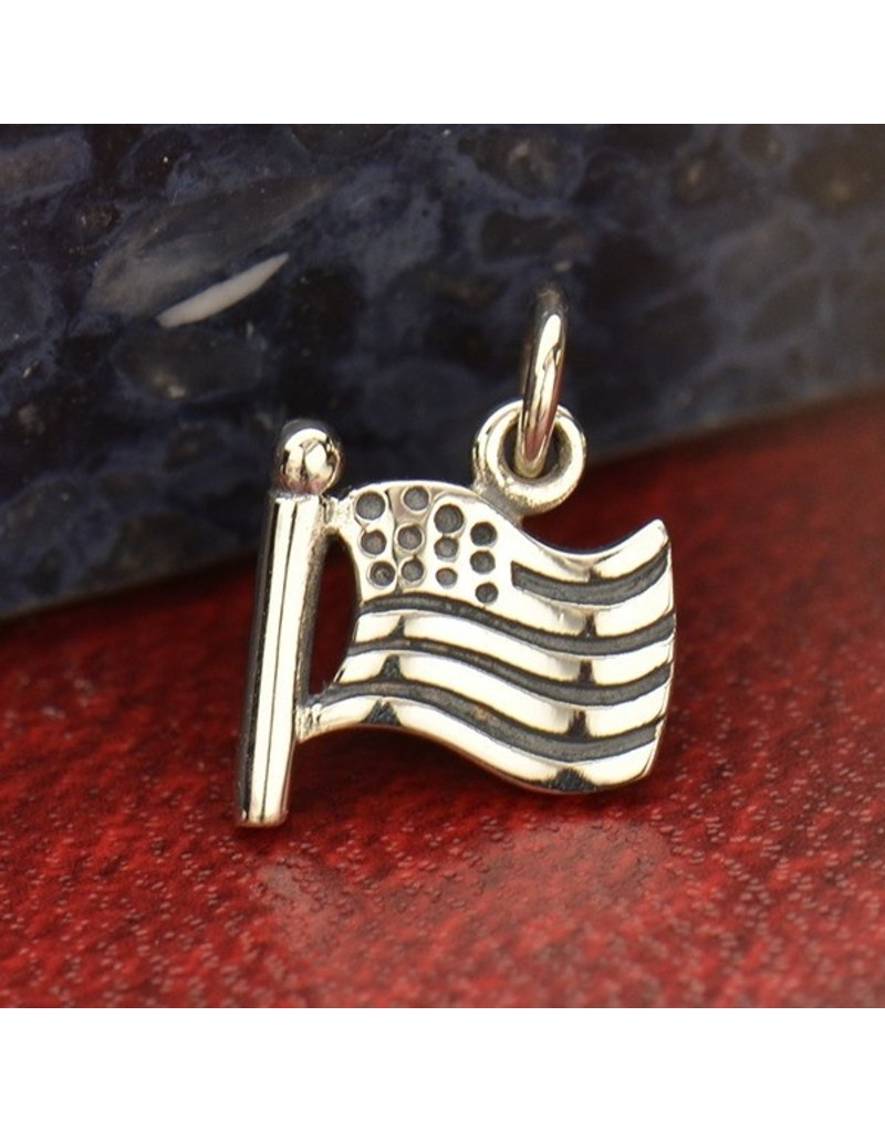 Sterling Silver American Flag Charm