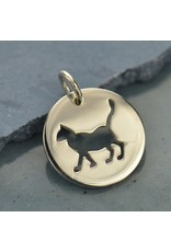 Sterling Silver Round Cutout Cat Charm