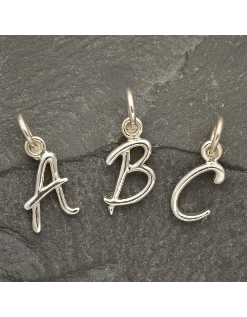 Sterling Silver Initial V Script Charm