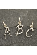 Sterling Silver Initial T Script Charm