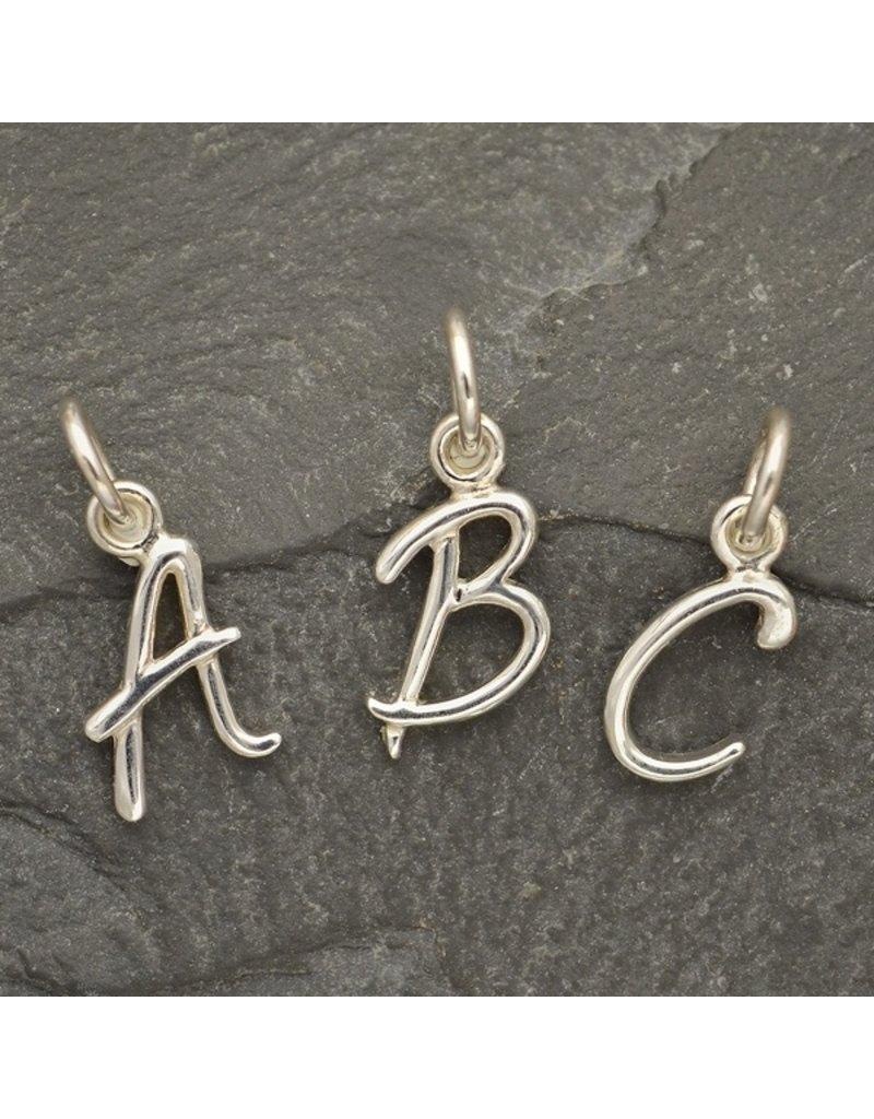 Sterling Silver Initial J Script Charm