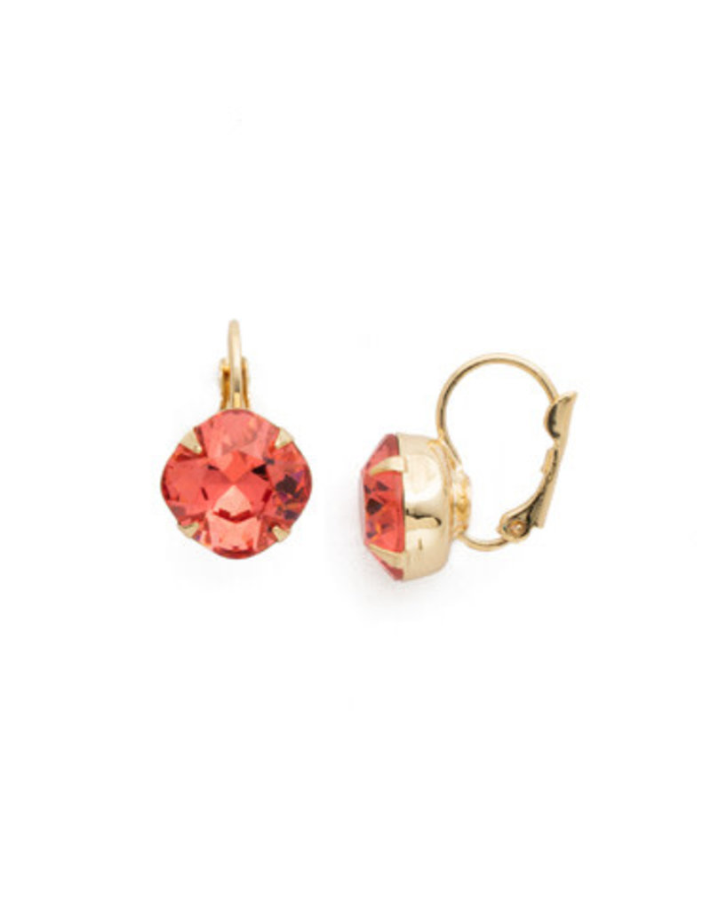 Sorrelli Cushion Cut French Wire Earrings in Coral