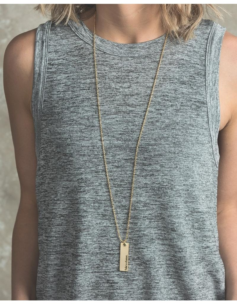 Lenny & Eva Entirely Up to You Gold Bar Pendant Necklace