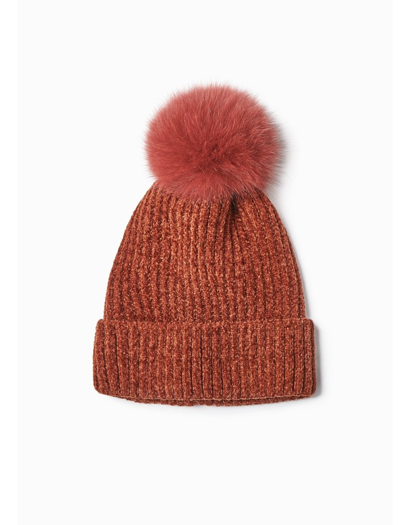 Look By M Chenille Fur Pom Pom Hat in Clay