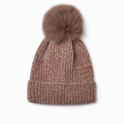 Look By M Chenille Fur Pom Pom Hat in Taupe