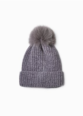 Look By M Chenille Fur Pom Pom Hat in Grey
