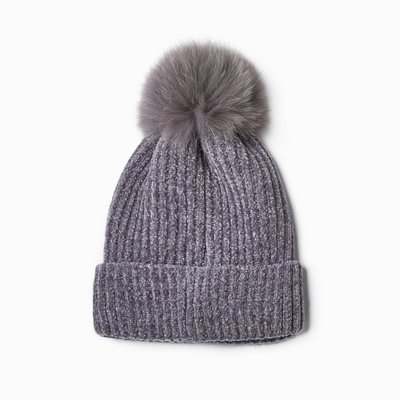 Look By M Chenille Fur Pom Pom Hat in Grey