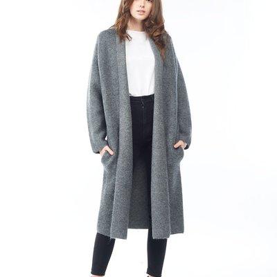 Look By M Basic Grey Shawl Cardigan