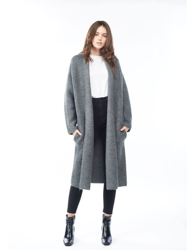 Look By M Basic Grey Shawl Cardigan