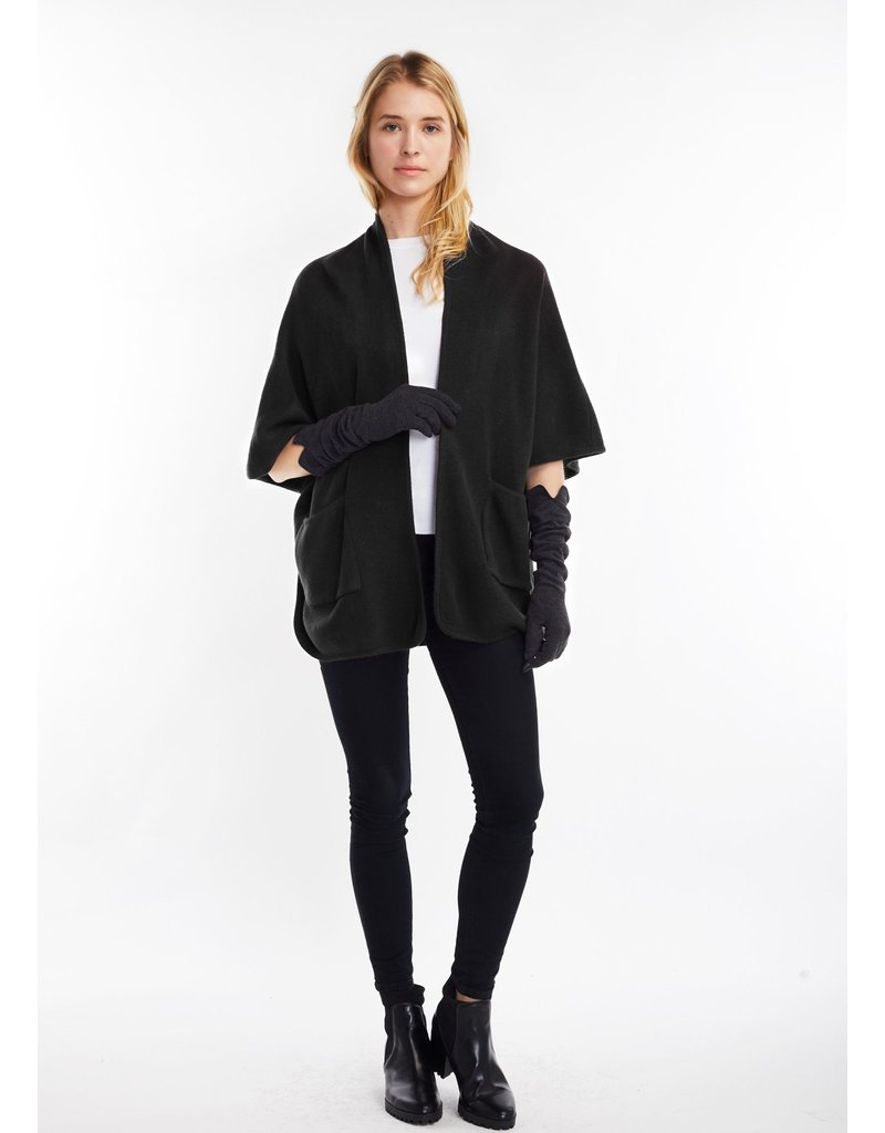 Look By M Basic Black Cape Poncho