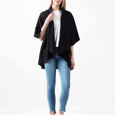 Look By M Basic Black Shawl Vest