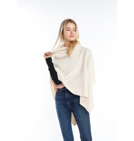 Look By M Cream Turtleneck Wrap Poncho