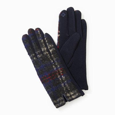 Look By M Navy Tweed Plaid Gloves