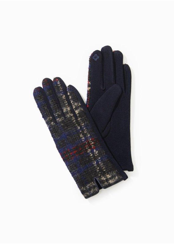 Look By M Navy Tweed Plaid Gloves
