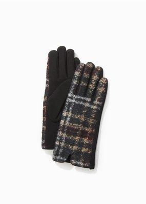 Look By M Black Tweed Plaid Gloves