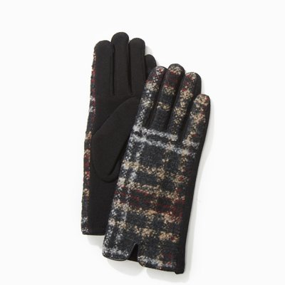 Look By M Black Tweed Plaid Gloves