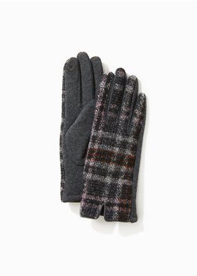 Look By M Grey Tweed Plaid Gloves